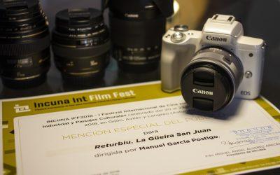 """Canon España entrega a Manuel García Postigo el premio """"Mención especial del público"""" del Incuna Film Festival"""